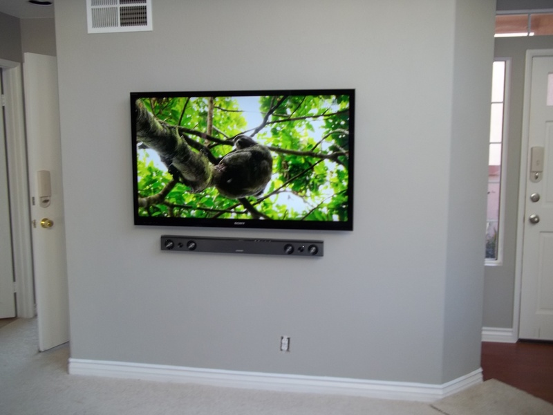 "65"" Samsung LED TV with Samsung Soundbar Mounted on Wall with Concealed Wires Premium Installation"