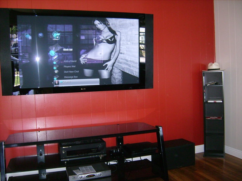 Pioneer Elite TV Installation w/ concealed wires on wood wall
