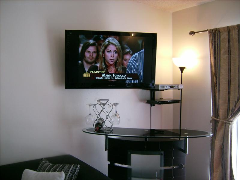 Premium TV Installation with Media Shelf over Bar